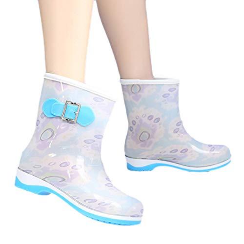 LoveLeiter Frauen Flach Stiefel wasserdichte Regenstiefel Gartenschuhe Kurze Gummistiefel Damen rutschfest Punkt-Muster Regen Boots Wellies Halbschaft