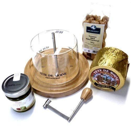Set de pasteles de queso 1 barra de ca 800 G Tete de Moine queso cabeza de monje reserva 250 G Fig mostaza 100 G Suiza hojaldre-Stängli