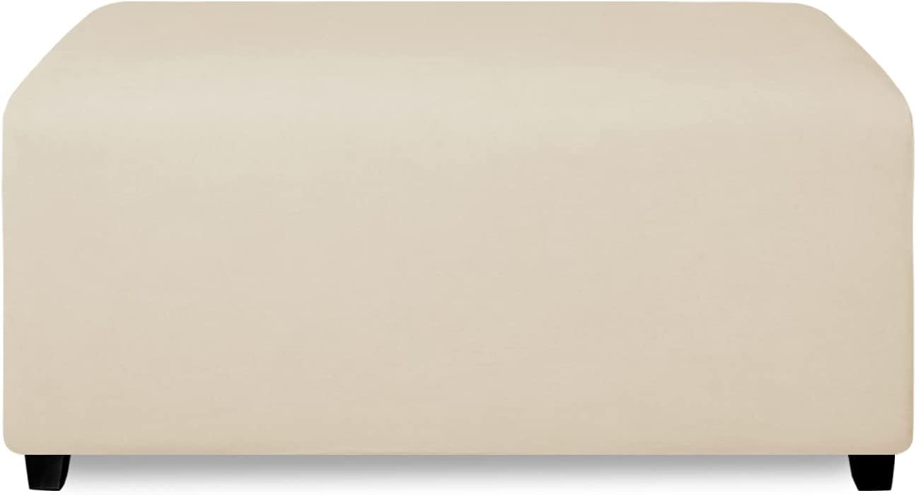 PureFit Super Stretch Soft Form Fit Ottoman Cover Rectangle - Ottoman Slipcovers for Foot Stool & Folding Storage Furniture for Living Room with Nonslip Elastic Bottom (Large, Beige)