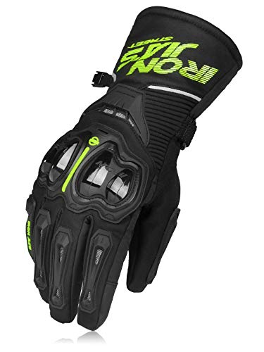 IRON JIA'S Guantes de motos Invierno cálido impermeable cubierta guantes de protección a prueba de viento Guantes Luvas puede pantalla táctil L Amarillo