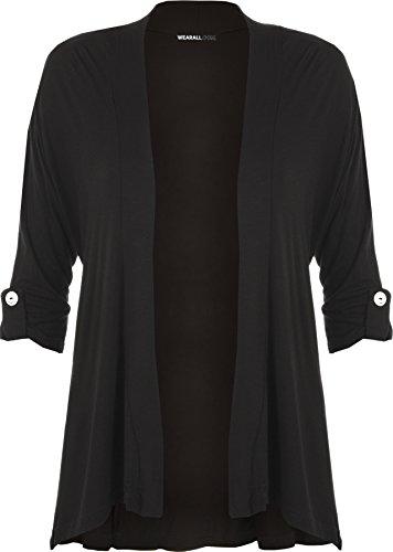 WearAll - Damen Übergröße Kurzarm knopf offen Cardigan Top - Schwarz - 50-52