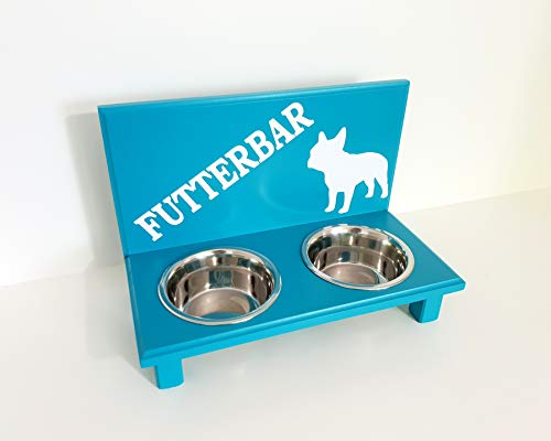 Jennys Tiershop Futterbar. Gestalten mit Wunschnamen und Deko. Futterbar für Französische Bulldogge. Hundenapf. Futterbar Hunde in türkis 2 x 750 ml Hundebar (7d4)