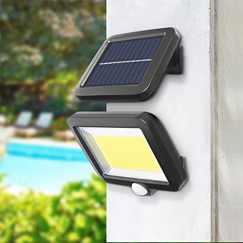 Solar Lamps for Outside with Motion Sensor, 100 COB Solar Lights, 180 ° Lighting Angle Solar Wall Lamp, IP65 Waterproof, LED Outside Wall Lights with 5M Cable