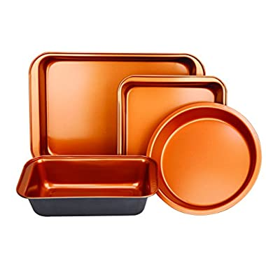 Copper Bakeware Set - Includes an Oblong Rectangular Pan, Brownie Pan, Round Cake Pan, and Meat Loaf Pan, Standard