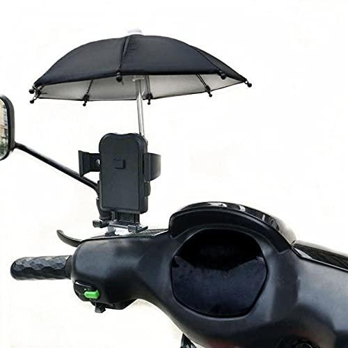 Teléfono al aire libre Soporte de paraguas, soporte de teléfono de la motocicleta, bicicleta Mini paraguas de sombrilla, accesorios de decoración de locomotoras, refugio a prueba de viento móvil de la
