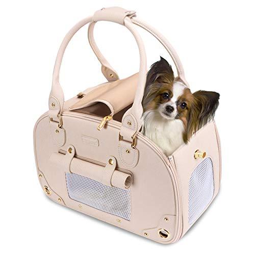 PetsHome Dog Carrier, Pet Carrier, Dog Purse, Foldable Waterproof Premium PU Leather Pet Travel...
