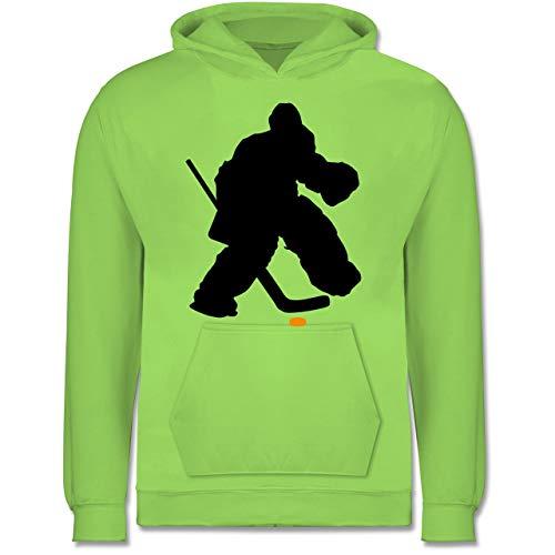 Sport Kind - Eishockeytorwart Towart Eishockey - 152 (12/13 Jahre) - Limonengrün - Torwart - JH001K - Kinder Hoodie