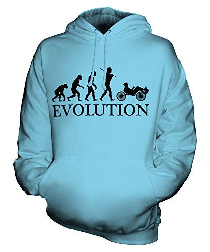 Candymix Liegerad Evolution des Menschen Unisex Herren Damen Kapuzenpullover, Größe Medium, Farbe Himmelblau