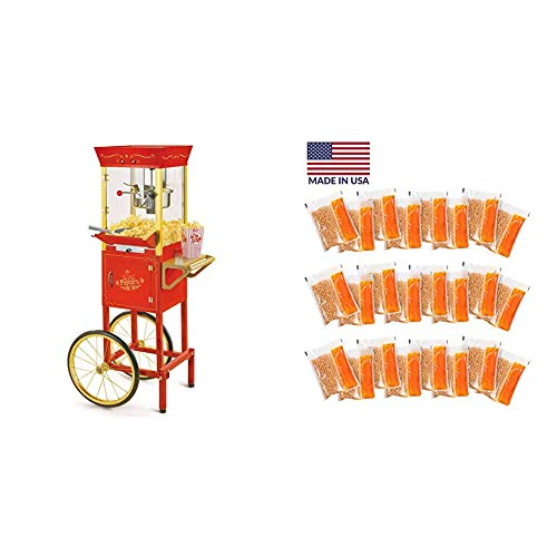 Nostalgia Concession CCP510 Vintage Professional Popcorn Cart-New 8-Ounce Kettle-53 Inches Tall-Red & Best Tasting Premium 8-Oz. Popcorn, Oil & Seasoning Salt All-In-One Packs, 8-Ounce, Yellow