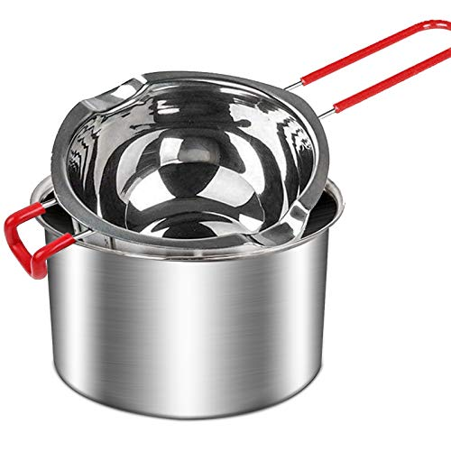 2Pack Stainless Steel Double Boiler Pot with Heat Resistant Handle for Melting Chocolate, Butter, Cheese, Caramel and Candy - 18/8 Steel Melting Pot, 2 Cup Capacity,Universal Insert