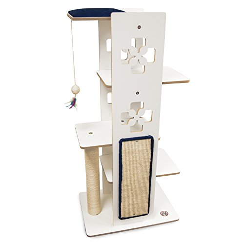 Majestic Pet Luxe Modern Cat Tree Condo Furniture Products - 48 in. x 23 in. x 16.5 in. (Navy Blue)