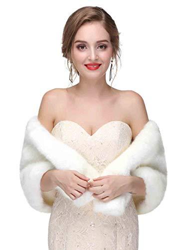 Jovono - Estola de piel para mujer, con broche para dama de honor, color blanco