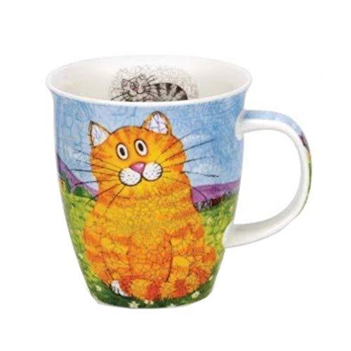 Dunoon Tazas Nevis Happy Cats, procelana de Ceniza de Hueso, Ginger