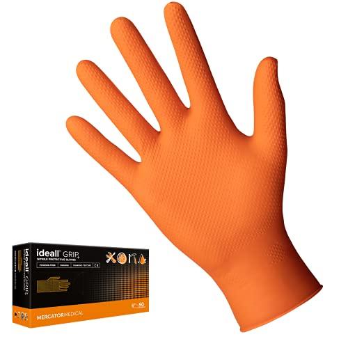 MERCATOR MEDICAL Ideall Grip+ Gants de protection jetables en nitrile non poudrés, sans latex, texture diamant épaisse 2,5x Orange - Taille M à XXL (XL)