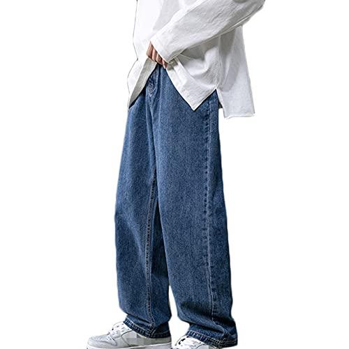 Pantalones Vaqueros para Hombre Rectos Otoño Sueltos No fáciles de desvanecer Pantalones Anchos Pantalones de Mezclilla Casuales de Color sólido para Uso Salvaje