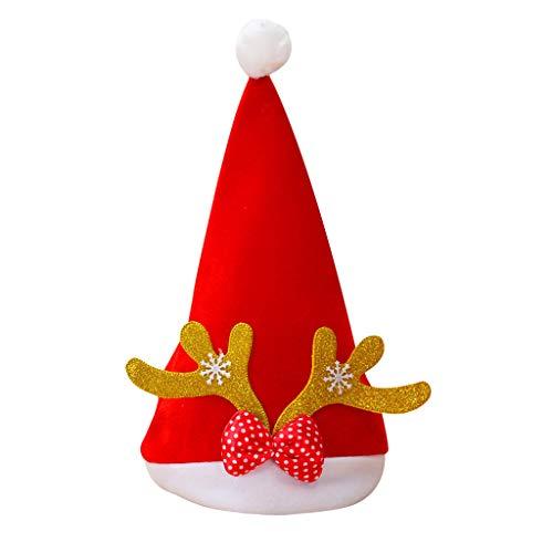 Sylar Sombreros Fiesta Navidad, Sombreros Fiesta Divertidas para Niña Y Niño Sombrero De Santa Navidad con Cornamenta Sombrero del Festival Gorro De Invierno Niños