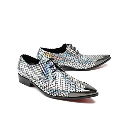Mr.Zhang's Art Home Männer Schuhe Silberne Herrenschuhe Wiesen Schnürschuhe auf