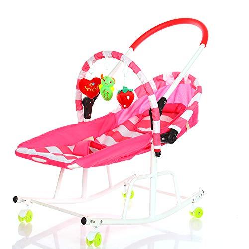 LYN&xxx Bébé Bascule bébé à Tout-Petit à Bascule Videur Baby Chaise et Rocker, Chaise bébé Confort Chaise à Bascule Roulette Universel Berceau à roulettes pour Enfant inclinable,Rose