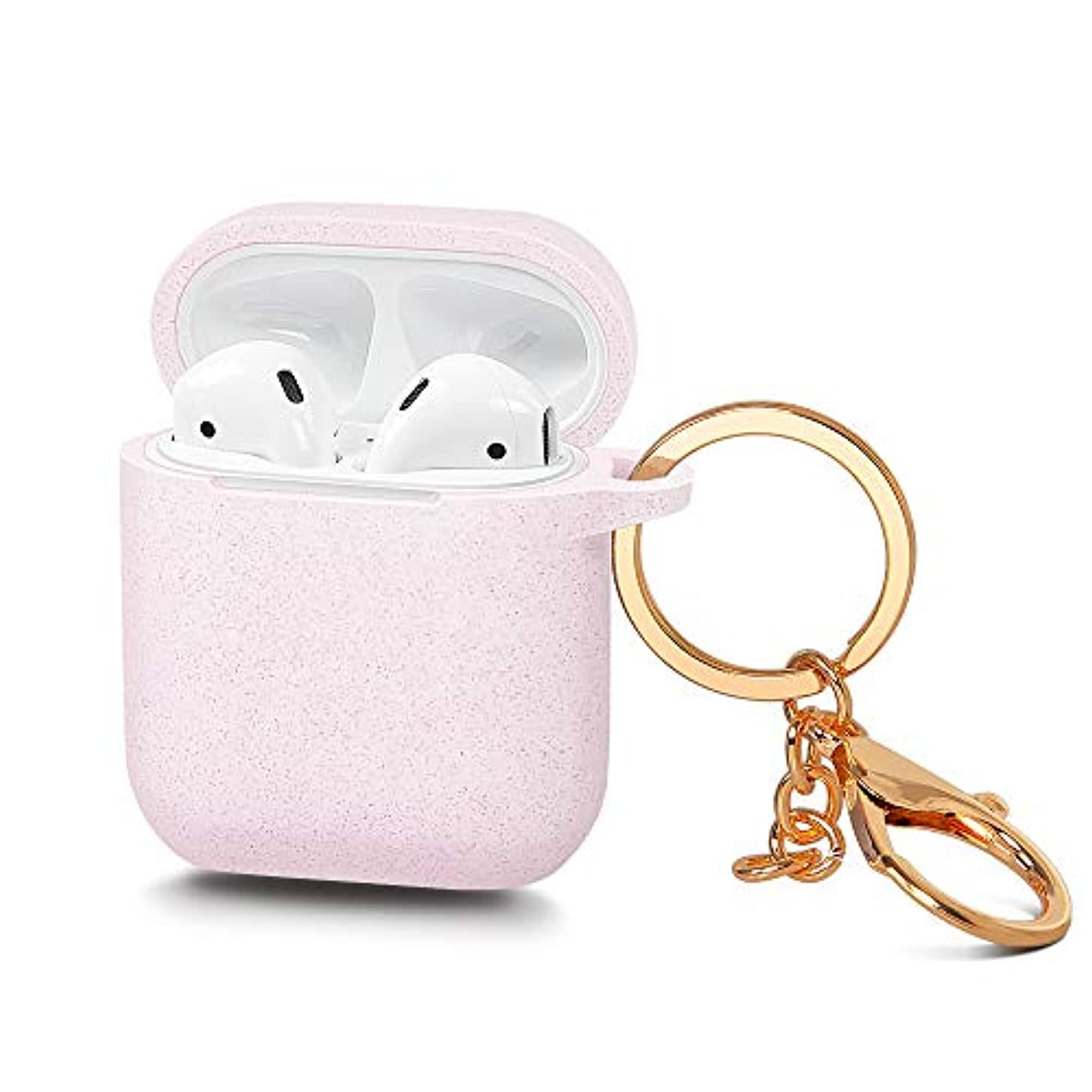 AirSha Compatible for AirPods Case with Keychain, [Front LED Visible]&[Support Wireless Charging],Shockproof Silicone Cover Skin for AirPods Charging Case 2 & 1 (Glitter Pink)