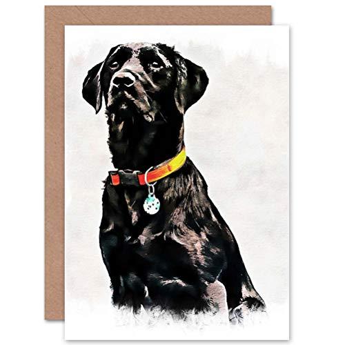 Wee Blue Coo CARD GREETING GIFT FOTO schilderij huisdier zwart LABRADOR RETRIEVER hond CUTE