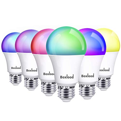 Smart Light Bulb Works with Alexa Echo Google Home Siri, RGB Color Changing WiFi Light Bulbs, No Hub Required, Warm White to Cool White Tunable, Dimming & Timing, APP & Voice Control,7W A19 E26 6Pack