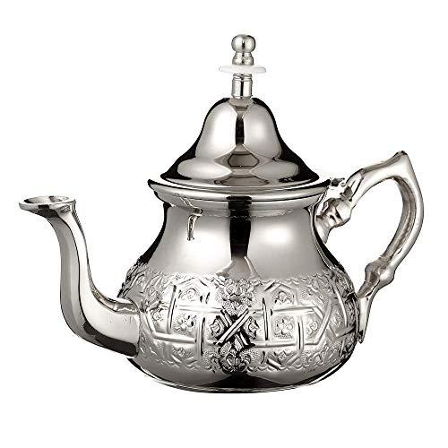 Tetera Marroquí en Plata Maillechort con Filtro Integrado y Manopla Auténtica Tradicional Modelo Grabado con Diseño Clásico Arabe Hecho a Mano Extra Grande (Aproximadamente 800 ml 7 vasos)