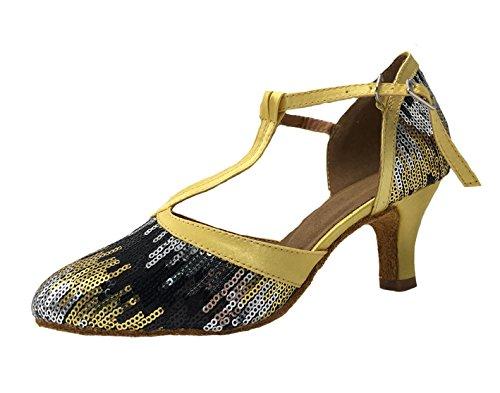 Honeystore Damen's Geschlossene Zehe T-Riemen Glitter Tanzschuhe Pailletten Gold 4 UK