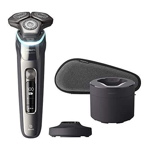 Philips S9987/55 Rasoio Elettrico Wet and Dry Shaver Series 9000, Sensore Pressure Guard, Lame Dual SteelPrecision, Testato Dermatologicamente, Testine Flessibili 360-D