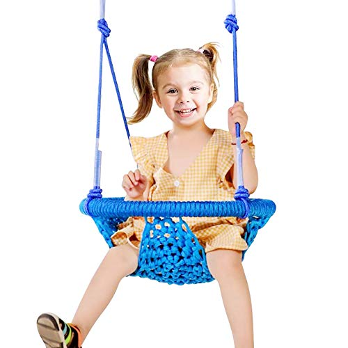 Maryya Toddler Swing Sets for Backyard, Adjustable Rope Hand-Knitting Round Children Swing Chair, Metal Swing Seats for Backyard, Indoor, Outdoor, Tree, Room, Porch, Playground (10M-6Years, Blue)