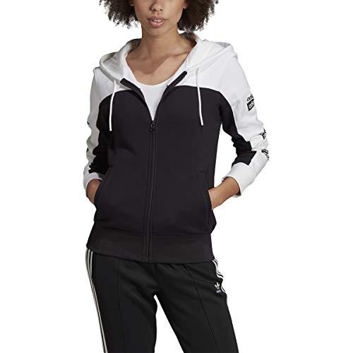 Adidas Essentials Linear - Sudadera con capucha y cremallera completa para mujer (talla S), color negro y gris