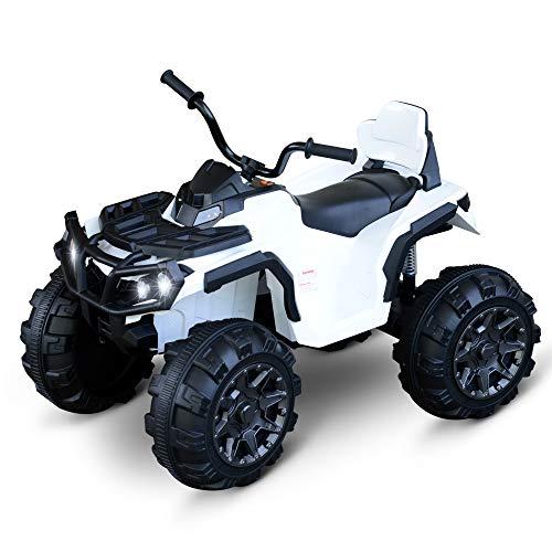 homcom Quad per Bambini Elettrico Batteria 12V 2 velocità con Luci e Presa USB Ruote Ammortizzate, Bianco, 103.5x69.5x70cm