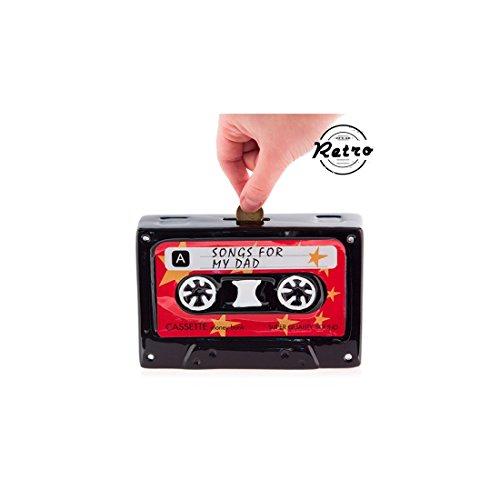 Kassette Spardose aus Keramik mit Schloss Gelddose Sparbüchse Cassette