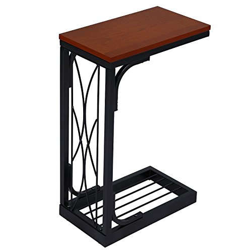 VASAGLE Industrial Snack Table, Heavy-Duty Sofa Side Table for Living Room, Steel Frame, Brown and Black ULNT40Z
