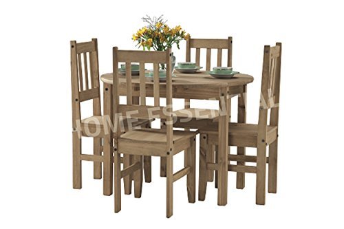Mexican Pine Drop Leaf Dining Table with Four Chairs