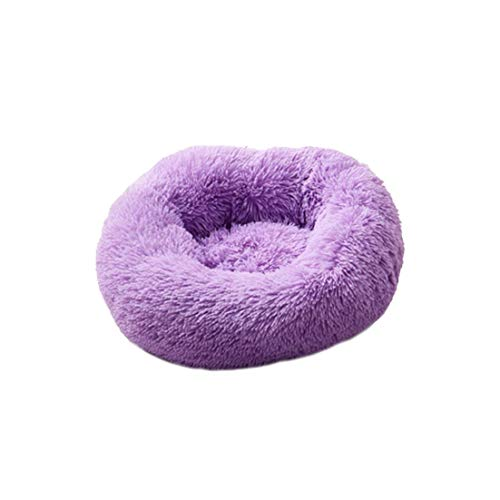 Super Soft Dog Bed Long Plush Round Small Beds Portable Comfortable and Warm Sleeping Bag Soft Puppy Kennel House,Purple,XL 80 cm