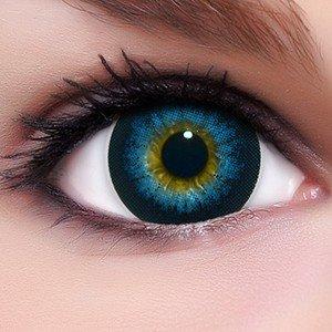 Circle Lenses blaue Babe Blue ohne und mit Stärke + Kombilösung + Behälter I 15mm I weich I 3 Monate anwendbar I Ohne und Mit Stärke