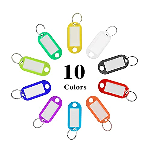 200 Pcs Plastic Key Tags with Split Ring Label Window, Keychain ID Name Tags, Assorted Colors Photo #3
