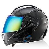 Casco De Motocicleta Integrado Con Bluetooth, Certificado Por DOT/ECE, Doble Lente, Casco Abatible Para Motocicleta, Casco Integral Para Motocicleta Con Radio FM De 500 M / MP3,C,L