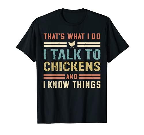 I Talk To Chickens Funny Chicken Buffs Farmer Retro Poultry Camiseta