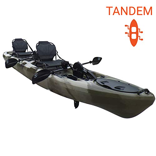 Brooklyn Kayak Company BKC UH-PK14 14 foot Sit On Top Tandem Fishing Pedal Drive Kayak Upright Seats included (Camo)