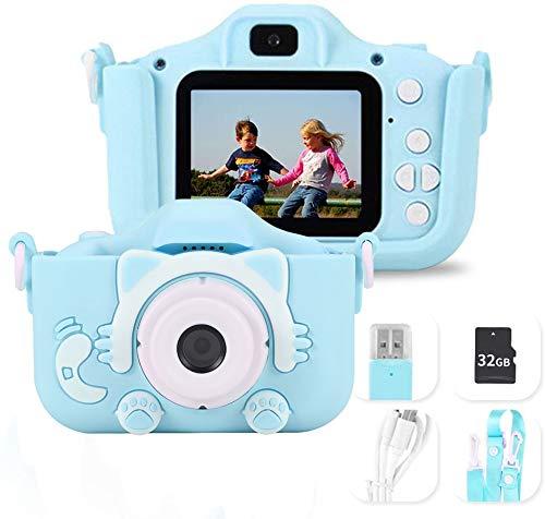 Cámara para Niños Cámara Digitale Selfie para Niños, HD 1200 MP/1080P Doble Objetivo, Ideales para niños de 3 a 12 años, Regalos Juguete para Navidad, Rosado (Azul)