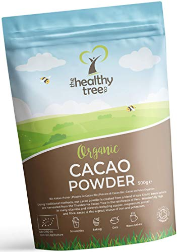 Cacao Crudo Orgánico en Polvo de TheHealthyTree Company para Yogur, Batidos y Repostería - Alto Contenido de Proteínas, Magnesio, Fibra y Potasio - Sin Azúcar, Polvo de Cacao Vegano (500 g)