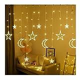 Detrade LED Lichterketten, 3,5 m Star Moon LED Vorhang Lichter Girlande Hochzeit Dekorationen für Ramadan, Weihnachten, Hochzeit, Party, Zuhause, Terrasse, Rasen