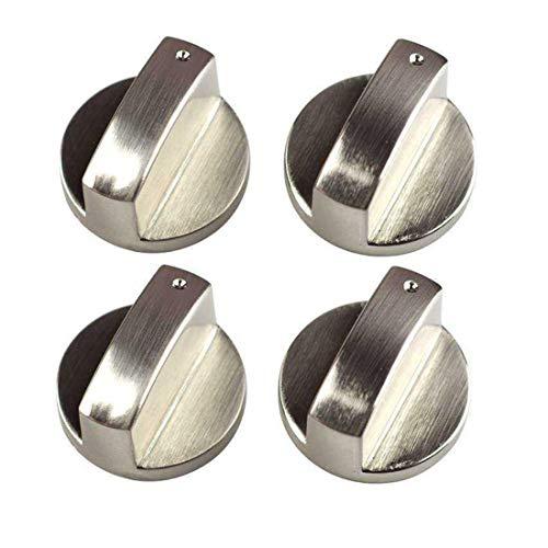 SIYI-XIU 4Pcs Perillas de Control 6mm Botones Perillas de Cocina Metal Mandos Cocina Gas para Mayoría las Horno,Cocina,Estufa de Gas,Plata