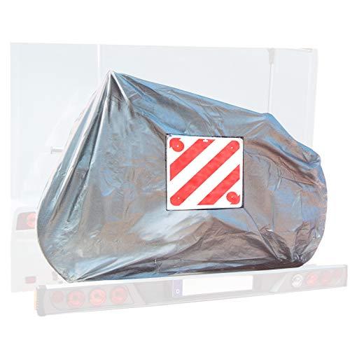 deiwo Fahrradschutzhülle für 2 Fahrräder, Warntafel-Einschubtasche, Oxford Gewebe, Gummizug, extra stabil + Warntafel Kunststoff mit Reflektoren