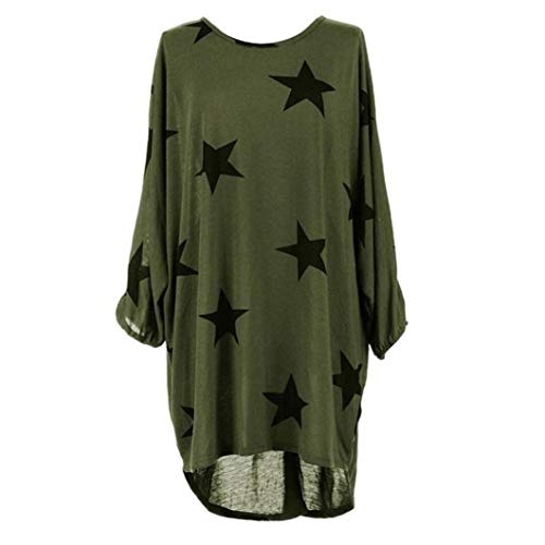 ZJDECR Dames Mode Lente En Herfst Grote Yards Ms. Star Gedrukt T-shirt Casual Losse Blouse Bat Mouw T-shirt Shirt Zon Bescherming Kleding Topjes
