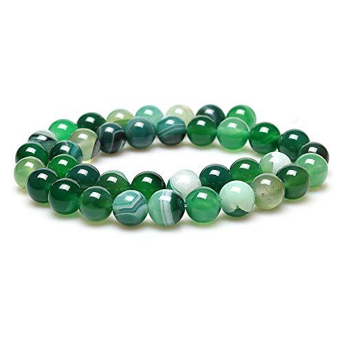 jartc Perline Per Braccialetti Energetico Braccialetto Yoga Braccialetto Fai da Te Perle di Pietra Naturale Agata A Strisce Verde 60 Pezzi, 34CM,6 mm