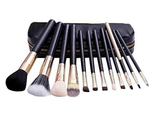 Set De 12 Maquillaje Pinceles - Pelo De Cabra Y De Nylon, Virola De Aluminio, Mango De Madera Natural, Bolso Imitación Cuero Negro by DELIAWINTERFEL