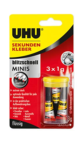 UHU Sekundenkleber blitzschnell Minis, Extrem starker, flüssiger Sekundenkleber - 3 Minis in einer praktischen Aufbewahrungsbox, Optimale Qualität bei jeder Anwendung, 3 x 1 g