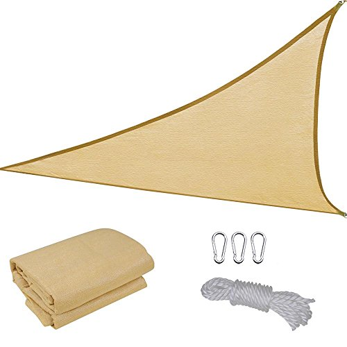 16.5' Triangle Sun Shade Sail Patio Deck Beach Garden Yard Outdoor Canopy Cover Uv Blocking (Desert Sand)